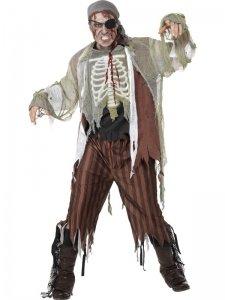 Für Gruselige Jugendliche Kostüm - Gruseliges Piraten-Kostüm Grösse L 52 / 54 Seeräuber Geist Mumie Skelett Zombie 4 Teile Verkleidung Halloween-Kostüm