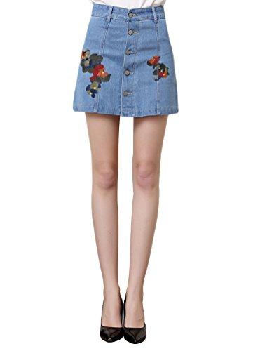 Sentao Donne Vita Alta Gonna di Jeans Ricamo Minigonna di jeans con Bottoni Leggero Blu 2