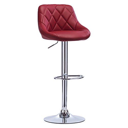 Woltu bh23bd-1 sgabello da bar moderno girevole sedia cucina alta con schienale quadrato poggiapiedi senza braccioli altezza regolabile in similpelle bordeaux 1 pezzo