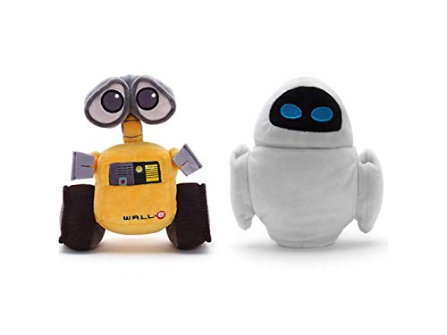 Disney Store Wall-e & Eve Peluche Originale Pixar Robot Eva Walle Nuovo Set Due Coppia