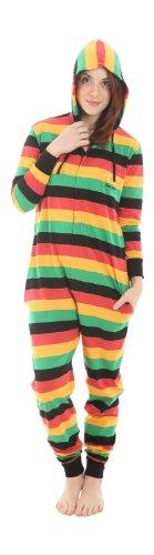 getreifter einteiliger Baumwollpyjama in Reggae Farben, Erwachsenenstrampler, einteiliger Schlafanzug Reggae Funzee (M)
