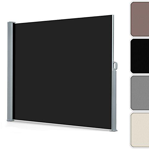 casa pura® Seitenmarkise Schwarz | ausziehbar bis 300 cm Länge | effektiver Sichtschutz, Sonnenschutz & Windschutz | für Terrasse, Balkon und Garten | in vielen Höhen ( Größe Stoffbahn HxL 200x300 cm )