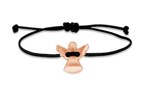 Nuoli® Schutzengel Armband (deutsche Handarbeit) Glücksbringer Armband für Mädchen und Frauen, Engel Anhänger in Rosegold (Armband Mit Glücksbringer)
