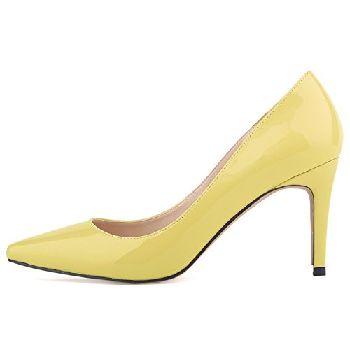 OCHENTA Femme Escarpins Talon Aiguille En PU Cuir Verni Classique Mode Soiree Mariage Chaussures Jaune