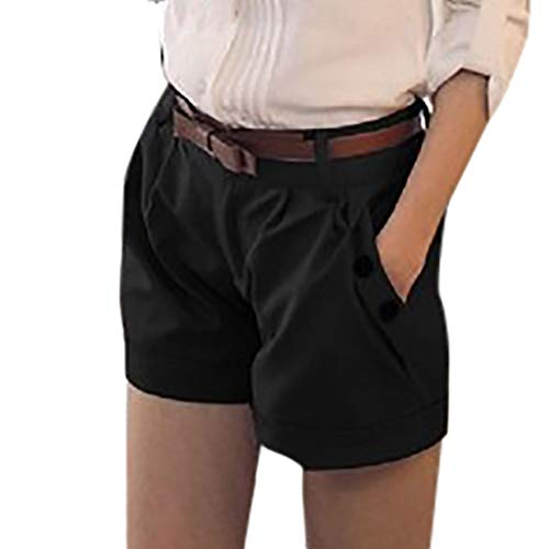 WOZOW Damen Kurze Hose Shorts Solid Falten Gefaltet Lose Loose A Line Cool Short Casual Military Stoffhose Trousers Pocket Bloomers Mini Hosen (2XL,Schwarz)