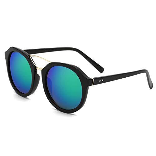 Junecat Frauen-PC Feld Rund Farbe Film Sonnenbrille Retro Farbe Sonnenbrillen
