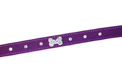 "Pet Palace® ""Plush Pup"" Suede Luxury Dog Puppy Collar for Dogs of Distinction PLUS FREE LED FLASHING COLLAR TAG! (Purple, Extra Small) 2"