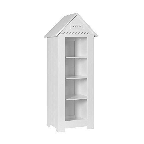 lounge-zone Kinderregal Bücherregal LA MER mit Spitzdach weiß maritim skaninavisches Design Breite: 72cm 13263