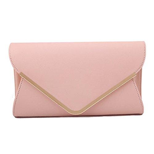 Damen Frostige Handtaschen Umschlag Clutch Bag Hard Case Glossy Sommer Metallic Strap Neon (Rosa) (Abend-handtasche Rosa)