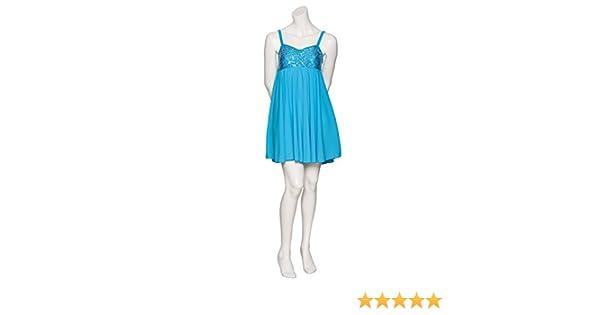 a3a22b5fb Katz Dancewear Ladies Girls Turquoise Short Sparkly Sequin Lyrical Dress  Contemporary Ballet Modern Dance Ballroom Costume: Amazon.co.uk: Sports &  Outdoors