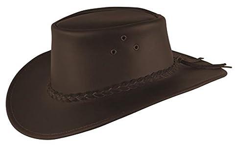 Cowboy Lederhut für Kinder in schwarz und braun mit geflochtenem