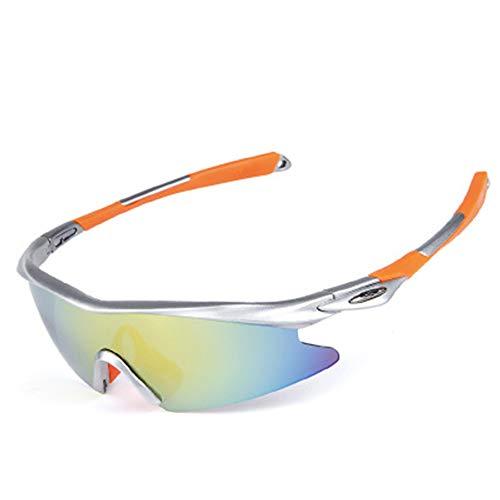 Polarisierte Sportbrillen Sandproof Flat Wings Reitbrillen Geeignet für Radsportler und Radsportlerinnen, die Angeln und Golf Spielen,Silverorange