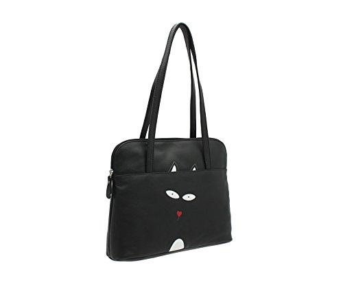 Cinturino in pelle Doppia Mala TEDDY collezione Soft Leather Shoulder Bag 786_82 nero Black