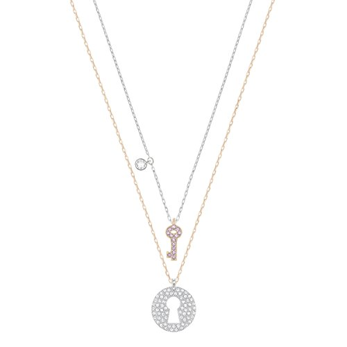 Swarovski set di pendenti crystal wishes key, rosa, placcatura mista