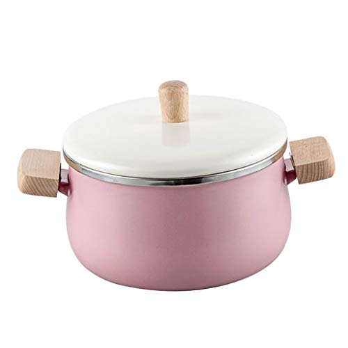 FLAMEER 1 Unidad Olla de Cocina de Esmalte Accesorio de Cocina Experiencia Gastronómica - Olla Rosa