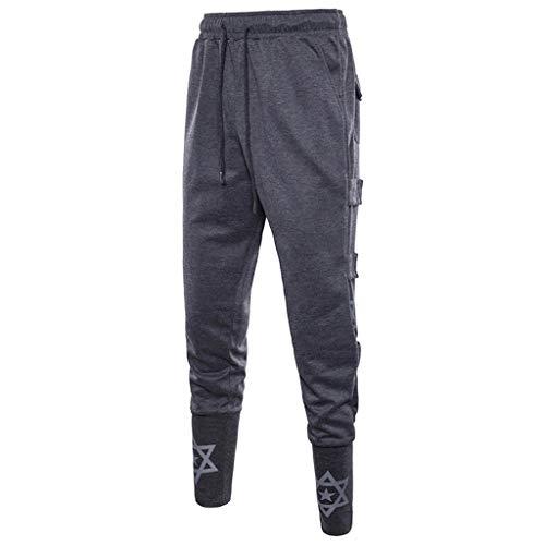 MOTOCO Männer Lässige Hosen Jogginghose Hose Gym Jogging Sporthose Sportbekleidung Set Harlan Style Hose mit Taschen(M,Dunkelgrau)