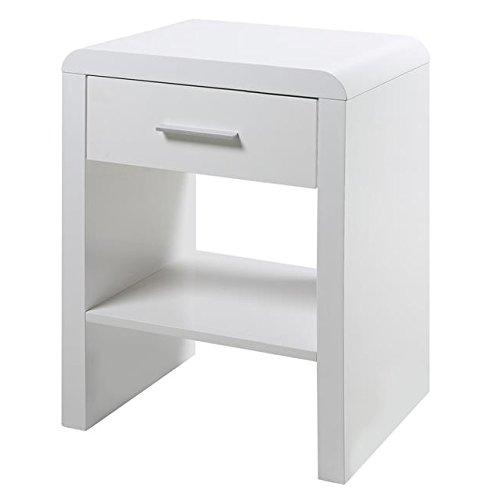 Mesilla de dormitorio en laca blanca alto brillo de 45x35xH59 cm