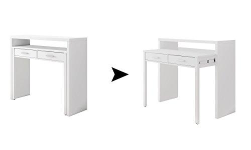 Habitdesign 004582A - Mesa de Escritorio Extensible, Color Blanco Artik, Medidas: 98,5 x 87,5 x 36-70 cm de Fondo
