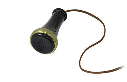Opis 1921 cable - Modell C - Retro Telefon aus Holz, schwarzem und mit Messing überzogenem Plastik - mit echter, rotierender Wählscheibe und Metallklingel - 5