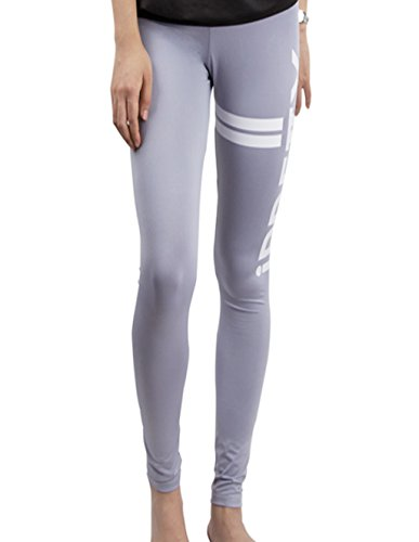 iPretty damen Fitness Yoge Sport Elastische Gestreifte Leggings Hosen mit Muster Grau
