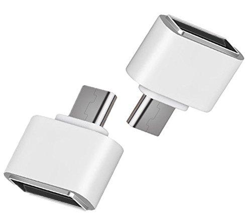 Lumanuby 2 Stück USB to Micro Adapter aus ABS Häuse OTG Data Daten Konverter V8 Converter USB 2.0 für Samsung/andere Andorid Mobiltelefone (Weiß) V8-micro-usb