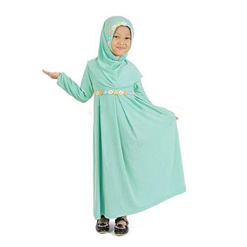Xmansky Muslim Mädchen Maxi Kleid,Ramadan Festival Baby-Kinder-islamische Langer Muslim Abaya mit Sticken Hijab mit Langen Ärmeln Kleid (Maxi Kleider Bescheiden)