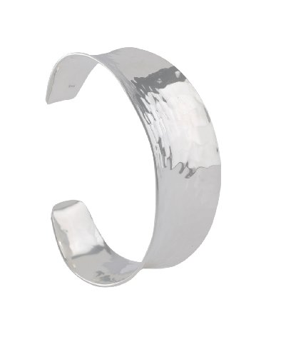 Instinct Silver 095 Concaved Hammered Wide Cuff Bangle