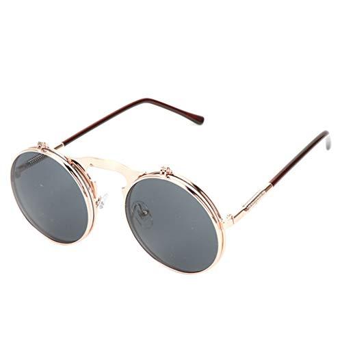 fish Mode Flip Up Steampunk-Sonnenbrille-Männer runde Weinlese-Männer Sunglass Driving Piloten Brille Sunproof UV400