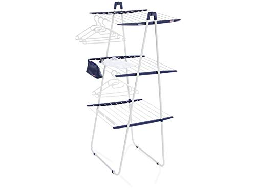 Leifheit tower 200 deluxe stendibiancheria, metallo, bianco/blu