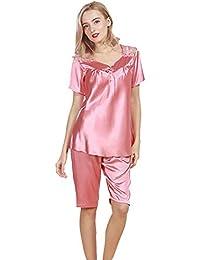 53053f82904b2 Boern Damen Seide Pyjamas Frauen Bedruckte Nachthemd Elegant Nachtwäsche  Lose Sleepwear Frühjahr Sommer Schlafanzug