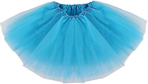 Ksnrang Damen Tütü Rock Minirock 3 Lagen Petticoat Tanzkleid Dehnbaren Mini Skater Rock Erwachsene Ballettrock für Party Halloween Kostüme Tanzen (Blau) (Tutus Halloween-kostüm Für Erwachsene)