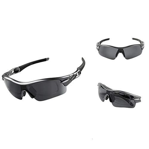 WULE-RYP Polarisierte Sonnenbrille mit UV-Schutz Sonnenbrille Ride Windproof Outdoor Sportbrillen Polarisierende Sonnenbrillen. Superleichtes Rahmen-Fischen, das Golf fährt (Farbe : Schwarz)