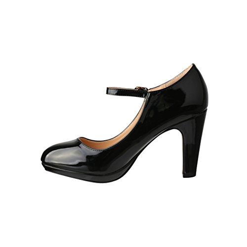 Elara Damen Pumps | Bequeme High Heels Lack-Optik | Vintage-Style | Abendschuh Trendy | Chunkyrayan | 118-7 Black-39 - 2