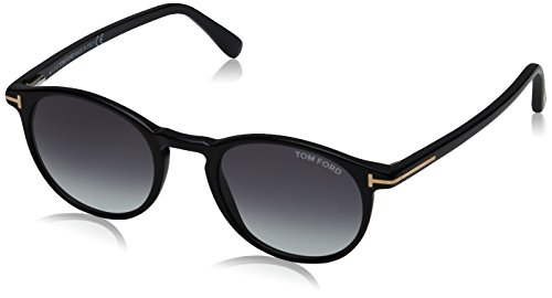 Tom ford ft0539 sunglass pant, montature unisex-adulto, black lucido with fumo grad, 48