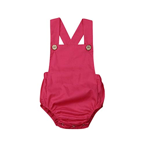 TICOOK Kinder Jumpsuit ärmellos gestreift Knopfleiste Schulterriemen, Gr. 70 cm (3-6 Monate), hot pink