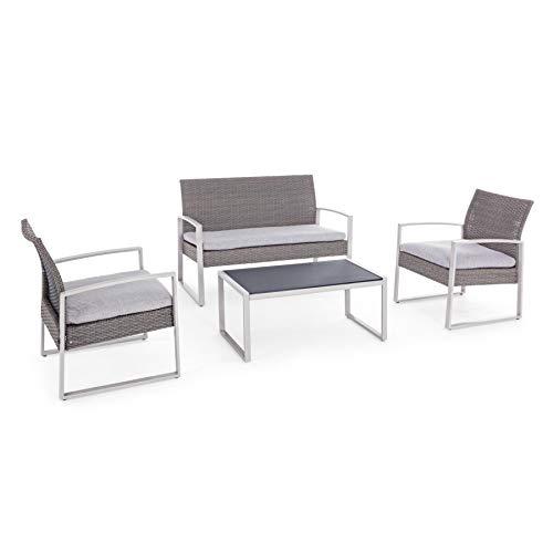 ARREDinITALY Ensemble Salon pour extérieur canapé + 2 fauteuils et Table Basse