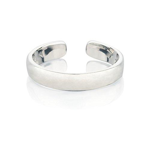 Zehenring aus 925 Sterling Silber als Fußschmuck für Damen, Herren und Mädchen, Größenverstellbar, Breite 3mm, Modell 8