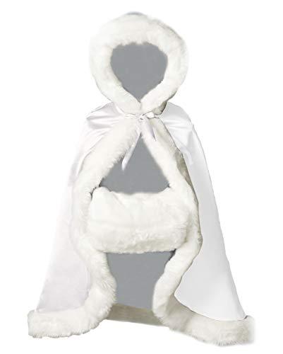 Kinder Cape Mit Kapuze Winter Warm Kunstpelz Für Hochzeit Weihnachten Halloween Blumenmädchen Junge Weiß 22 Inch ()