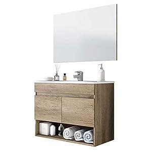 Miroytengo Mueble Lavabo suspendido Que Incluye Espejo Mueble baño de Dos Puertas y Hueco Abierto 80x45x64 cm con…