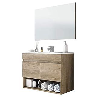 31wMWfASBLL. SS324  - Miroytengo Mueble de Aseo con Espejo Mueble de baño Colgante Moderno 1 Compartimento Abierto 2 Puertas 80x45x64 cm con LAVAMANOS CERÁMICO