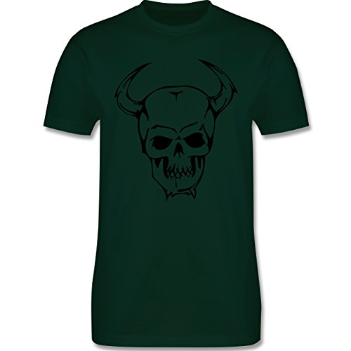 Piraten & Totenkopf - Totenkopf - Herren Premium T-Shirt Dunkelgrün