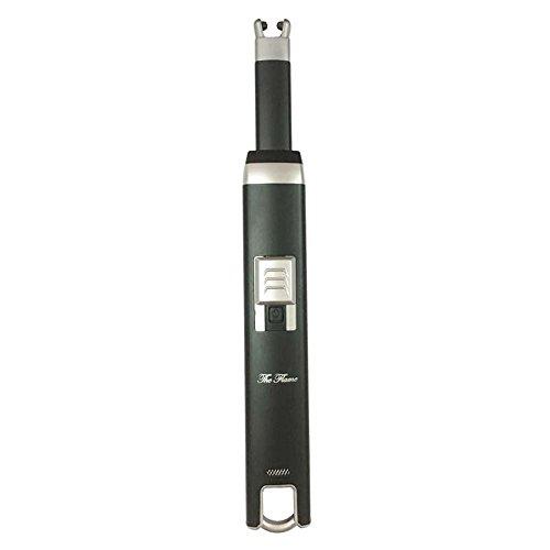 Elektronisches Feuerzeug f&uumlr Kerzen -The Flame- Schnelles Laden &uumlber USB windundurchl&aumlssig Ohne Verbrennung, Robust und sicher mit eleganten Paket (Schwarz)