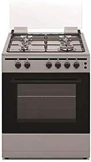 Akai 60 X 55 cm, 4 Burner Full Safety Gas Cooker, Enamel Silver - CRMA-66SC, 1 Year Warranty