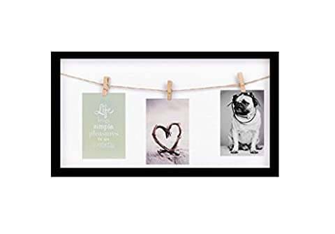 Invero® Wall Mountable Triple Peg Display Box Picture Photo Frame 6 x 4 Inches with 3 Rustic Pegs and Sisal Rope ideal for all Living Rooms, Bedrooms, Kitchens, Offices, Gifts and more - Black