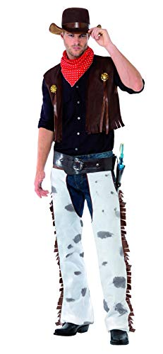 Chaps Cowboy Kostüm - Smiffys Herren Cowboy Kostüm, Chaps, Weste, Hut und Halstuch, Größe: L, 20471
