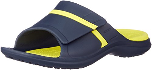 Crocs modi sport slide u, scarpe da spiaggia e piscina unisex-adulto, blu (navy/tennis ball green 4g0), 43/44 eu