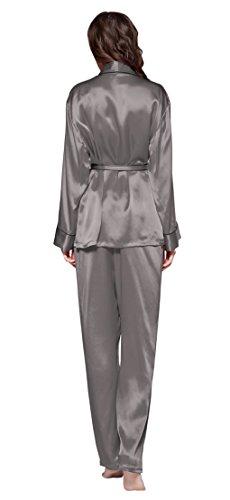 LILYSILK Ensemble de Pyjama 100% Soie Femme Bordure Noire Classique 22 Momme Gris Foncé