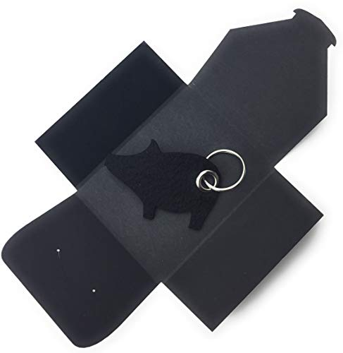 Dunkler Kostüm Tod - Schlüsselanhänger aus Filz - Schwein/Glücksschwein - schwarz - als besonderes Geschenk mit Öse und Schlüsselring - Made-in-Germany