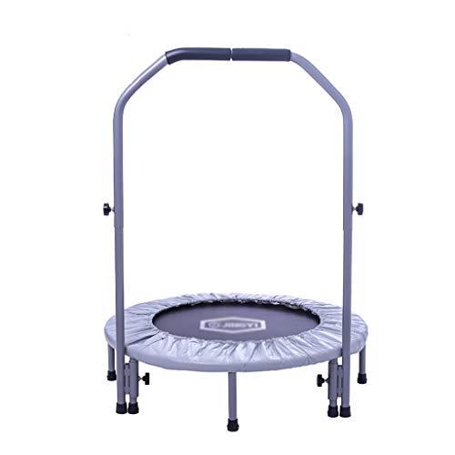 Trampolin für Erwachsene Fitness Bounce Bett Indoor Trampolin Kinder Spielzeug federbett Outdoor Kind springen Bett faltbar mit armlehnen Last tragend 100 kg (Color : Gray, Size : 96 * 96 * 101CM) -