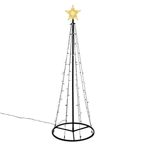 106 LED warm weiß Lichtpyramide mit Leucht-Stern Lichterbaum 180 cm Baum mit Stern Trafo Timer Weihnachtsbaum Xmas-Deko Außen Leuchtbaum
